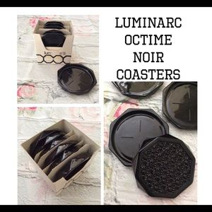 Vintage  Octime Black Glass Octagon Drink Coasters